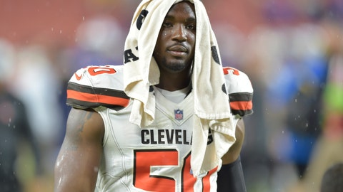 """<p>               FILE - In this Aug. 17, 2018, file photo, Cleveland Browns defensive end Chris Smith (50) walks off the field after an NFL football preseason game against the Buffalo Bills, in Cleveland. Browns coach Freddie Kitchens said his team is """"hurting"""" for defensive end Chris Smith after his girlfriend was killed in an accident. Petara Cordero, who recently had a daughter with Smith, was struck by a car as she stood on the roadside Wednesday, Sept. 11, 2019. Smith's car had blown a tire and the 26-year-old Cordero exited the vehicle when she was stuck by an oncoming car driven by a woman who admitted to police she had been drinking. (AP Photo/David Richard, File)             </p>"""