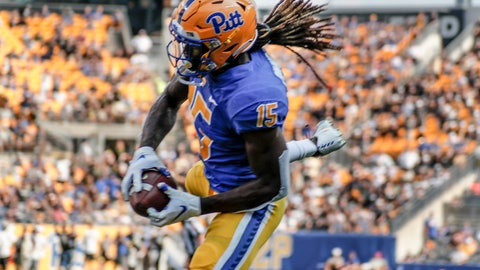 <p>               Pittsburgh defensive back Jason Pinnock (15) intercepts a Central Florida pass in the end zone during the first half of an NCAA college football game, Saturday, Sept. 21, 2019, in Pittsburgh. (AP Photo/Keith Srakocic)             </p>