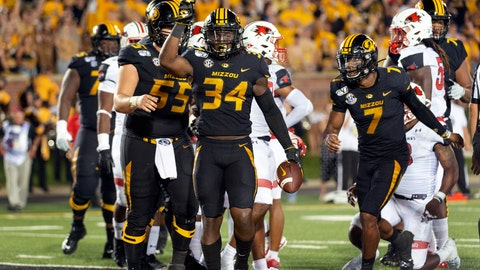 <p>               Missouri running back Larry Rountree III (34) celebrates after scoring a touchdown during the second quarter of an NCAA college football game against Southeast Missouri State, Saturday, Sept. 14, 2019, in Columbia, Mo. (AP Photo/L.G. Patterson)             </p>