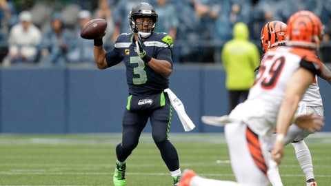<p>               Seattle Seahawks quarterback Russell Wilson passes against the Cincinnati Bengals during the second half of an NFL football game Sunday, Sept. 8, 2019, in Seattle. (AP Photo/Stephen Brashear)             </p>
