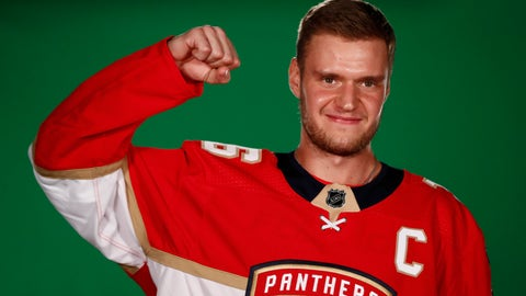 <p>               Florida Panthers center Aleksander Barkov (16) poses during NHL hockey media day on Thursday, Sept. 12, 2019, in Sunrise, Fla. (AP Photo/Brynn Anderson)             </p>