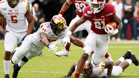 <p>               Temple running back Jager Gardner (21) carries with the ball as he tries to get past Maryland defensive back Antoine Brooks Jr. (25) during the first half of an NCAA college football, Saturday, Sept. 14, 2019, in Philadelphia. (AP Photo/Chris Szagola)             </p>
