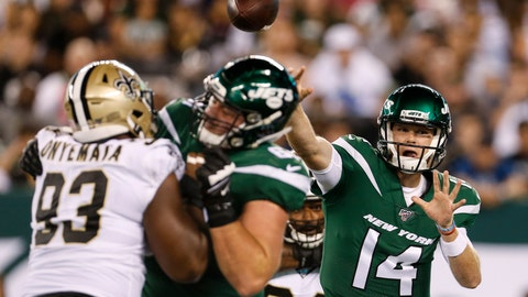 <p>               New York Jets quarterback Sam Darnold (14) throws a pass during the first half of the team's preseason NFL football game against the New Orleans Saints on Saturday, Aug. 24, 2019, in East Rutherford, N.J. (AP Photo/Adam Hunger)             </p>