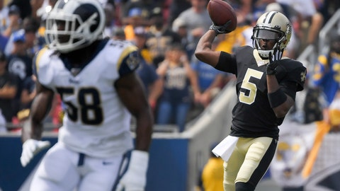 <p>               New Orleans Saints quarterback Teddy Bridgewater passes against the Los Angeles Rams during the first half of an NFL football game Sunday, Sept. 15, 2019, in Los Angeles. (AP Photo/Mark J. Terrill)             </p>