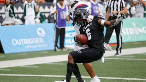 <p>               Arizona safety Scottie Young Jr. (6) can't stop Hawaii wide receiver Cedric Byrd II (6) from making a first-quarter touchdown during an NCAA college football game Saturday, Aug. 24, 2019, in Honolulu. (AP Photo/Marco Garcia)             </p>