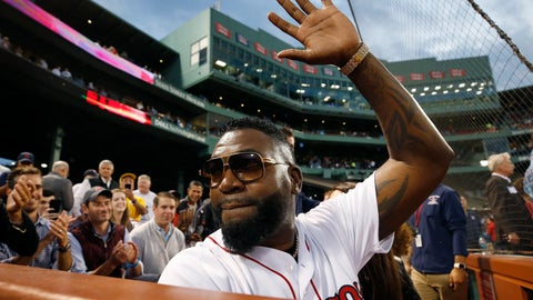 <p>               Former Boston Red Sox's David Ortiz waves to the crowd after throwing out a ceremonial first pitch before a baseball game against the New York Yankees in Boston, Monday, Sept. 9, 2019. (AP Photo/Michael Dwyer)             </p>