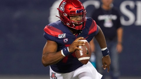 <p>               Arizona quarterback Khalil Tate looks down field against Northern Arizona in the second half during an NCAA college football game, Saturday, Sept. 7, 2019, in Tucson, Ariz. (AP Photo/Rick Scuteri)             </p>