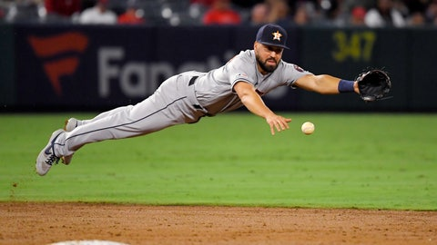 <p>               Houston Astros shortstop Jack Mayfield cannot get to a ball hit for a single by Los Angeles Angels' Taylor Ward during the third inning of a baseball game Thursday, Sept. 26, 2019, in Anaheim, Calif. (AP Photo/Mark J. Terrill)             </p>