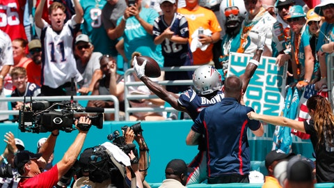 <p>               New England Patriots wide receiver Antonio Brown (17) waves from the seats after scoring a touchdown, during the first half at an NFL football game against the Miami Dolphins, Sunday, Sept. 15, 2019, in Miami Gardens, Fla. (AP Photo/Wilfredo Lee)             </p>