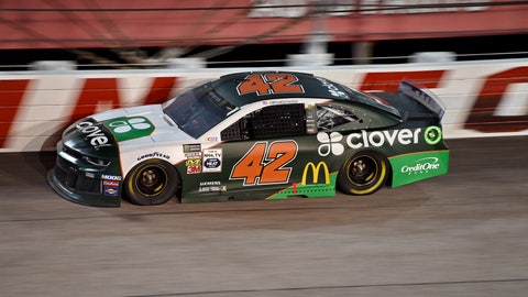 <p>               Kyle Larson drives out of Turn 1 during a NASCAR Cup Series auto race on Sunday, Sept. 1, 2019, at Darlington Raceway in Darlington, S.C. (AP Photo/Richard Shiro)             </p>