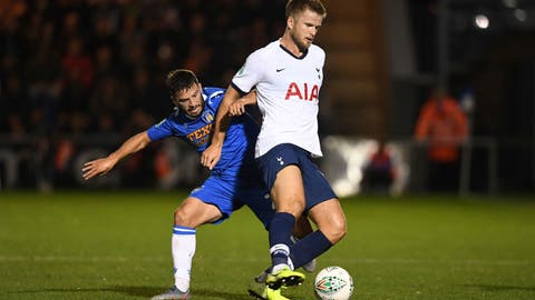 <p>               Tottenham Hotspur's Eric Dier, right, shields the ball from Colchester United's Luke Gambin during an English League Cup soccer match between Tottenham Hotspur and Colchester United's at the JobServe Community Stadium, Tuesday, Sept. 24, 2019, in Colchester, England. (Joe Giddens/PA via AP)             </p>