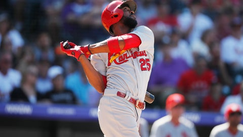 <p>               St. Louis Cardinals' Dexter Fowler singles against Colorado Rockies relief pitcher DJ Johnson in the sixth inning of a baseball game Thursday, Sept. 12, 2019, in Denver. (AP Photo/David Zalubowski)             </p>