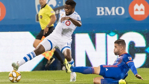 <p>               Montreal Impact's Orji Okwonkwo, left, challenges FC Cincinnati's Greg Garza during the first half of an MLS soccer match Saturday, Sept. 14, 2019, in Montreal. (Graham Hughes/The Canadian Press via AP)             </p>