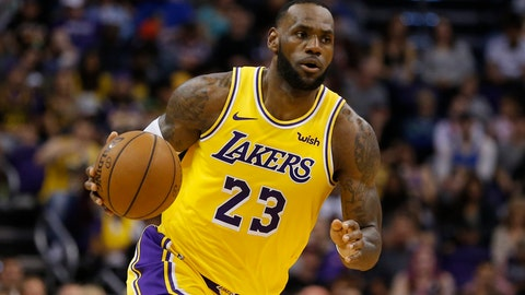 "<p>               FILE - In this March 2, 2019, file photo, Los Angeles Lakers forward LeBron James (23) controls the ball in the second half during an NBA basketball game against the Phoenix Suns in Phoenix. A sweat-stained jersey James wore while playing Ohio high school basketball and during his first Sports Illustrated magazine cover shoot as a teenager in 2002 is being auctioned. The online auction listing says the gold mesh jersey from the NBA star's days with the St. Vincent-St. Mary Fighting Irish in Akron features green lettering with the word ""Irish"" and number 23, the number he'd later wear for the Cleveland Cavaliers. The auction runs until Oct. 19. (AP Photo/Rick Scuteri, File)             </p>"
