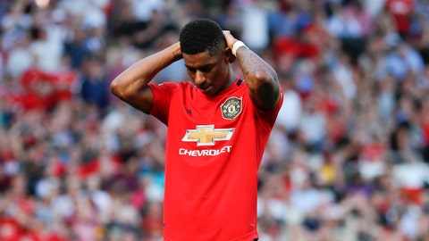 <p>               Manchester United's Marcus Rashford reacts after missing to score on a penalty kick during the English Premier League soccer match between Manchester United and Crystal Palace at Old Trafford in Manchester, England Saturday, Aug, 24, 2019. (AP Photo/Alastair Grant)             </p>
