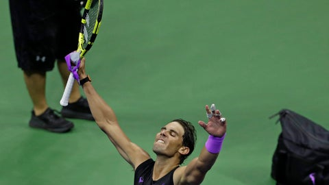 <p>               Rafael Nadal, of Spain, celebrates after defeating Diego Schwartzman, of Argentina, during the quarterfinals of the U.S. Open tennis tournament early Thursday, Sept. 5, 2019, in New York. (AP Photo/Adam Hunger)             </p>