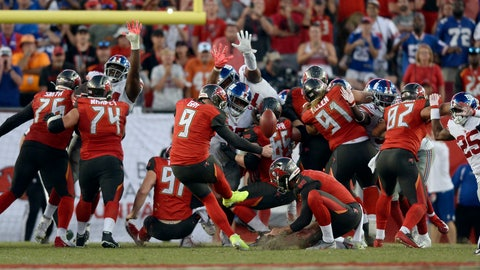 <p>               Tampa Bay Buccaneers' Matt Gay (9) misses a field goal as time expires against the New York Giants during the second half of an NFL football game Sunday, Sept. 22, 2019, in Tampa, Fla. (AP Photo/Jason Behnken)             </p>