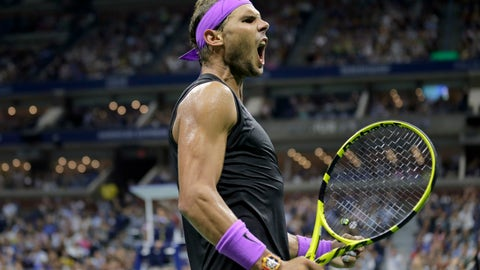 <p>               Rafael Nadal, of Spain, reacts after winning a point against Marin Cilic, of Croatia, during the fourth round of the U.S. Open tennis tournament, Monday, Sept. 2, 2019, in New York. (AP Photo/Seth Wenig)             </p>