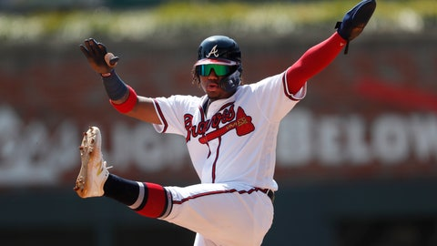 <p>               Atlanta Braves center fielder Ronald Acuna Jr. (13) gestures after reaching second base during the fifth inning of a baseball game against the Philadelphia Phillies Thursday, Sept. 19, 2019, in Atlanta. (AP Photo/John Bazemore)             </p>