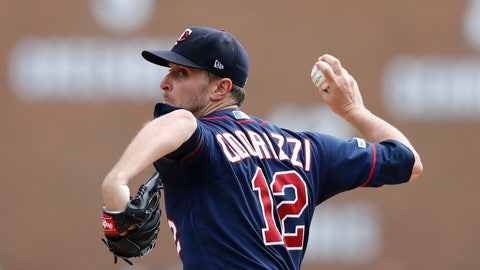 <p>               Minnesota Twins starting pitcher Jake Odorizzi throws during the second inning of a baseball game against the Detroit Tigers, Monday, Sept. 2, 2019, in Detroit. (AP Photo/Carlos Osorio)             </p>