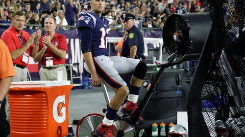 <p>               New England Patriots quarterback Tom Brady pedals a stationary bike on the sideline during the second half of the team's NFL preseason football game against the New York Giants, Thursday, Aug. 29, 2019, in Foxborough, Mass. (AP Photo/Elise Amendola)             </p>