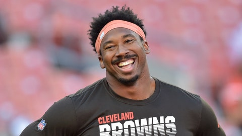 """<p>               FILE - In this Aug. 29, 2019, file photo, Cleveland Browns defensive end Myles Garrett smiles before an NFL preseason football game against the Detroit Lions, in Cleveland. The Browns star defensive end has been chosen as the new captain of the NFL Waterboys program, which is committed to bringing clean water to needy East African communities. Garrett is taking over the role previously held by Chris Long, who retired after 11 seasons.  """"I am thrilled to be the Waterboys NFL captain and continue my work in ensuring that people have access to safe water,"""" Garrett said. (AP Photo/David Richard, File)             </p>"""