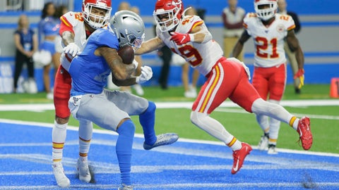 <p>               Detroit Lions wide receiver Kenny Golladay (19) catches a 9-yard pass for a touchdown during the second half of an NFL football game against the Kansas City Chiefs, Sunday, Sept. 29, 2019, in Detroit. (AP Photo/Duane Burleson)             </p>