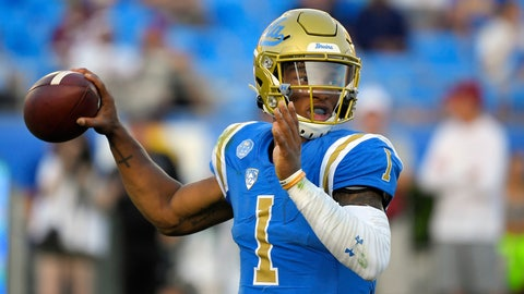<p>               UCLA quarterback Dorian Thompson-Robinson looks for a receiver during the first half of the team's NCAA college football game against Oklahoma on Saturday, Sept. 14, 2019, in Pasadena, Calif. (AP Photo/Mark J. Terrill)             </p>