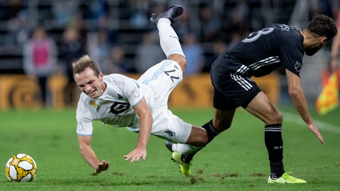 <p>               Chase Gasper (77) of Minnesota United and Graham Zusi (8) of Sporting Kansas City collide in the first half during an MLS soccer match Wednesday, Sept. 25, 2019, in St. Paul, Minn. (Carlos Gonzalez/Star Tribune via AP)             </p>