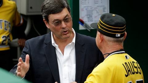 <p>               Pittsburgh Pirates chairman Robert Nutting, left, talks with Pirates coach Dave Jauss in the dugout after the firing of manager Clint Hurdle before the final baseball game of the season against the Cincinnati Reds in Pittsburgh, Sunday, Sept. 29, 2019. (AP Photo/Gene J. Puskar)             </p>