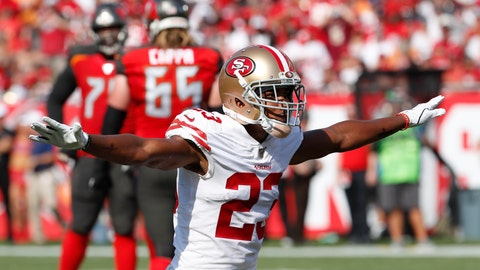 <p>               San Francisco 49ers cornerback Ahkello Witherspoon (23) reacts to play against the Tampa Bay Buccaneers during the first half an NFL football game, Sunday, Sept. 8, 2019, in Tampa, Fla. (AP Photo/Mark LoMoglio)             </p>