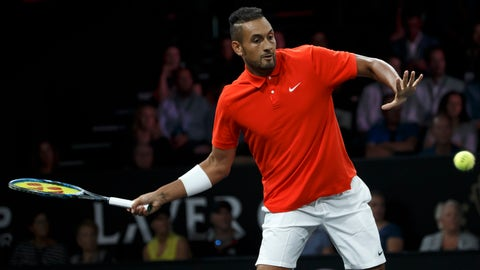 <p>               Team World's Nick Kyrgios serves a ball to Team Europe's Roger Federer during their match at the Laver Cup tennis event in Geneva, Switzerland, Saturday, Sept. 21, 2019. (Salvatore Di Nolfi/Keystone via AP)             </p>