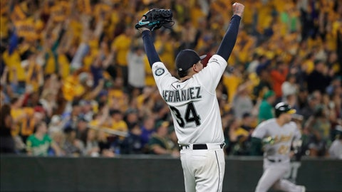 <p>               Seattle Mariners starting pitcher Felix Hernandez celebrates getting out of a bases-loaded jam to end the top of the fifth inning of the team's baseball game against the Oakland Athletics, Thursday, Sept. 26, 2019, in Seattle. (AP Photo/Ted S. Warren)             </p>