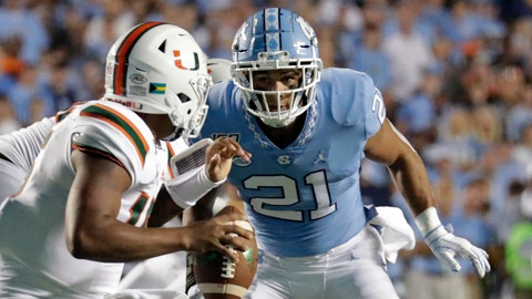 <p>               FILE - In this Sept. 7, 2019, file photo, Miami quarterback Jarren Williams (15) is pressured by North Carolina's Chazz Surratt (21) during the first half of an NCAA college football game in Chapel Hill, N.C. The North Carolina-Wake Forest game will put brothers Sage and Chazz Surratt on opposite sides for the first time. Sage is a top receiver for the Demon Deacons, while Chazz has moved from quarterback to linebacker for the Tar Heels -- raising the odds that the two meet in a collision at some point Friday night. (AP Photo/Chris Seward, File)             </p>