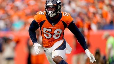 <p>               Denver Broncos outside linebacker Von Miller (58) runs a play against the Chicago Bears during the second half of an NFL football game, Sunday, Sept. 15, 2019, in Denver. (AP Photo/Jack Dempsey)             </p>