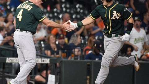 <p>               Oakland Athletics' Sean Murphy, right, shakes hands with third base coach Matt Williams after hitting a solo home run off Houston Astros relief pitcher Josh James during the sixth inning of a baseball game, Wednesday, Sept. 11, 2019, in Houston. (AP Photo/Eric Christian Smith)             </p>