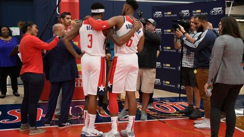 <p>               Washington Wizards' Bradley Beal (3) and Troy Brown Jr. (6) talks to members of the media during an NBA basketball media day, Monday, Sept. 30, 2019, in Washington. (AP Photo/Nick Wass)             </p>