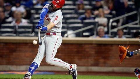 <p>               Philadelphia Phillies' Bryce Harper bats during the first inning of a baseball game against the New York Mets, Friday, Sept. 6, 2019, in New York. (AP Photo/Mary Altaffer)             </p>