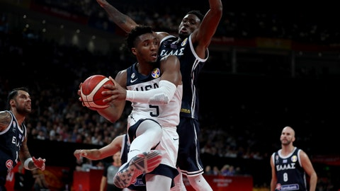 <p>               United States' Donovan Mitchell keeps the ball from Greece's Thanasis Antetokounmpo during phase two of the FIBA Basketball World Cup at the Shenzhen Bay Sports Center in Shenzhen in southern China's Guangdong province on Saturday, Sept. 7, 2019. United States beat Greece 69-53. (AP Photo/Ng Han Guan)             </p>
