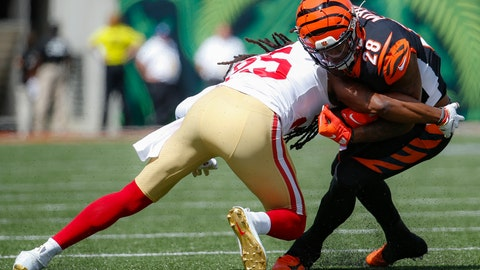 <p>               Cincinnati Bengals running back Joe Mixon (28) is tackled on the run by San Francisco 49ers cornerback Richard Sherman (25) during the first half an NFL football game, Sunday, Sept. 15, 2019, in Cincinnati. (AP Photo/Frank Victores)             </p>