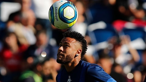 <p>               PSG's Neymar plays with the ball ahead of the the French League One soccer match between Paris Saint Germain and Strasbourg at the Parc des Princes Stadium in Paris, France, Saturday Sept.14, 2019. (AP Photo/Francois Mori)             </p>