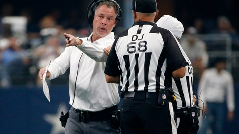 <p>               New York Giants head coach Pat Shurmur talks to line judge Tom Stephan (68) in the first half of a NFL football game against the Dallas Cowboys in Arlington, Texas, Sunday, Sept. 8, 2019. (AP Photo/Michael Ainsworth)             </p>