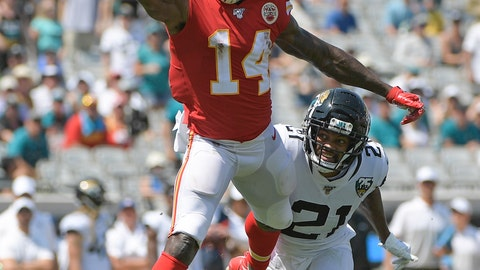 <p>               Kansas City Chiefs wide receiver Sammy Watkins (14) cannot hang on to a pass as Jacksonville Jaguars cornerback A.J. Bouye (21) defends during the first half of an NFL football game Sunday, Sept. 8, 2019, in Jacksonville, Fla. (AP Photo/Phelan M. Ebenhack)             </p>