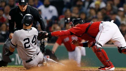 <p>               Boston Red Sox's Christian Vazquez, right, tags out New York Yankees' Gary Sanchez (24), who tried score on a single by Brett Gardner during the seventh inning of a baseball game in Boston, Friday, Sept. 6, 2019. (AP Photo/Michael Dwyer)             </p>