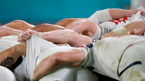 <p>               United States players pack bind for a scrum during the Rugby World Cup Pool C game at Kobe Misaki Stadium against England in Kobe, Japan, Thursday, Sept. 26, 2019. (AP Photo/Christophe Ena)             </p>