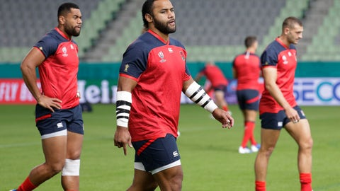 <p>               England rugby team player Billy Vunipola, center, walks as they train at the Kobe Misaki Stadium during the Rugby World Cup in Kobe, western Japan on Wednesday Sept. 25, 2019. England will play against USA tomorrow in their Pool C game. (AP Photo/Aaron Favila)             </p>