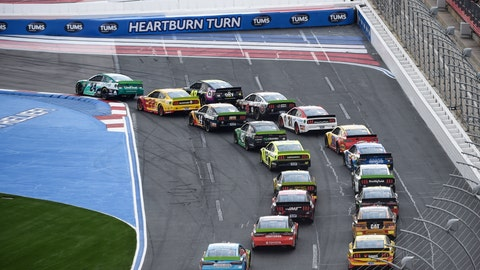 <p>               William Byron (24) leads through Turn 1 at the start of a NASCAR Cup Series auto race at Charlotte Motor Speedway, Sunday, Sept. 29, 2019, in Concord, N.C. (AP Photo/Mike McCarn)             </p>