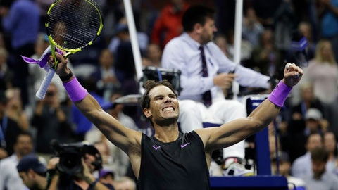 <p>               Rafael Nadal, of Spain, celebrates after defeating Matteo Berrettini, of Italy, in the men's singles semifinals of the U.S. Open tennis championships Friday, Sept. 6, 2019, in New York. (AP Photo/Adam Hunger)             </p>