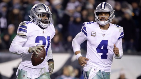 <p>               FILE - In this Nov. 11, 2018, file photo, Dallas Cowboys running back Ezekiel Elliott, left, celebrates after catching a touchdown pass from quarterback Dak Prescott (4) during the second half of an NFL football game against the Philadelphia Eagles, in Philadelphia. Prescott has his backfield mate back now that Ezekiel Elliott's holdout is over. (AP Photo/Matt Rourke, File)             </p>