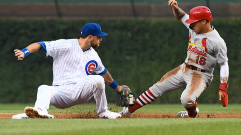 <p>               Chicago Cubs right fielder Ben Zobrist, left, tags out St. Louis Cardinals' Kolten Wong (16) at second base on an attempted steal during the first inning of a baseball game Thursday, Sept. 19, 2019, in Chicago. (AP Photo/Matt Marton)             </p>